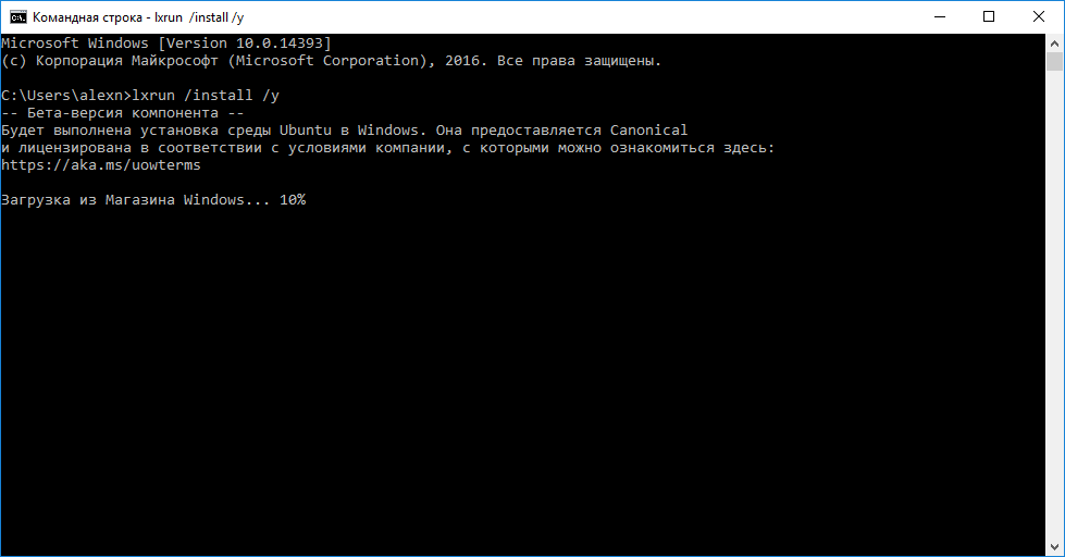 установка bash в windows 10